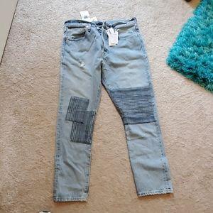 nwt women's Levi's button fly 501indigo plaid jean